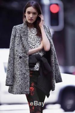 New CUE Black White Salt & Pepper Textured Wool Blend Jacket Coat AU6 $439