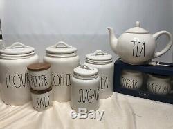 New Rae Dunn Coffee Flour Sugar Cream Tea Teapot Salt And Pepper Canister Set 9
