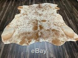 New brown salt and pepper cowhide rug size 80x80 inches AU-1211