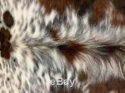 New tricolor salt and pepper cowhide rug size 83x81 inches AU-942