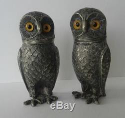 Nice Antique Vintage Silver Plated Novelty Owl Salt & Pepper Cruet Set