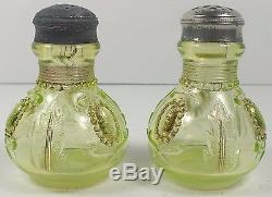 Northwood Opalescent Vaseline Glass Jewel & Flower Salt & Pepper Shakers With Gold