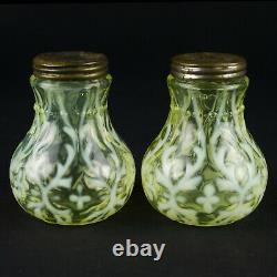 Northwood Spanish Lace Vaseline Opalescent Salt Pepper Shaker Set, Antique EAPG