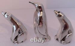 Norwegian Sterling Figural 1 Penguin 2 Polar Bear Salt Pepper Shakers D Andersen