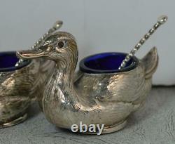 Novelty Edwardian Sterling Silver Pair of Duck Bird Shaped Salt Pepper Cruets