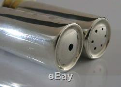 Novelty English Solid Silver Shotgun Shell Case Salt & Pepper Pots Shooting