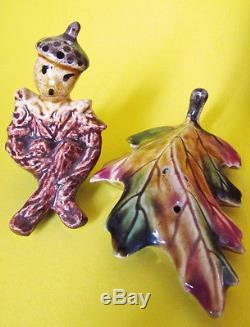 Oakie & Dokie On Oak Leaves 2 Sets Salt& Pepper Shakers Ceramic Arts Studio
