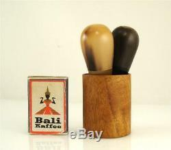 Old Original Carl AUBOCK Vienna SALT + PEPPER Shaker 4290 The Bombs Wood Horn