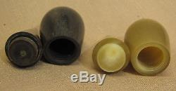 Orig. Rare Aubock salt and pepper shakers in stand / horn / Mid-Century / Vienna