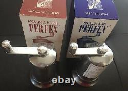 PERFEX'Office' Crank Salt & Pepper Mill Set France 4.5 Authentic BNIB