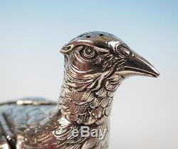 Pair German Silver Figural Pheasant Salt & Pepper Shakers Pot 800 Table Ornament