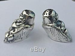 Pair Old Asian Sterling Silver Buddha Salt & Pepper Shakers Signed Japanese