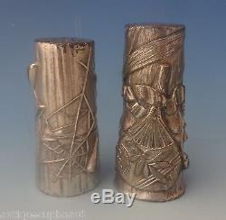 Pairpoint Silverplate Salt & Pepper Shakers 2pc Japanesque Design (#0227)