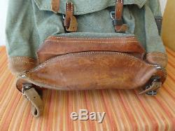 Perfect Vintage Swiss Army Military Backpack Rucksack 1968 Canvas Salt & Pepper