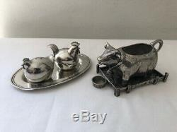 Pierre Deux Pewter Cow Creamer & Rooster/Hen Salt & Pepper Shakers With Tray