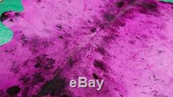 Pink Cowhide Rug Size 7' X 7' Dyed Pink on Salt & Pepper Skin Rug M-475