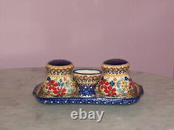 Polish Pottery Salt/Pepper/Toothpick/Tray Set! UNIKAT Signature Rembrandt