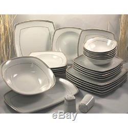 Porcelain Gold Dinner Set Luxury Crockery Side Dining Plates Bowls Salt Pepper