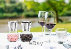 Premium Stainless Steel Salt and Pepper Grinder Set of 2- Brushed Stainless S