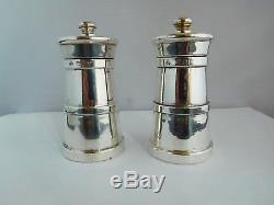Quality Pair Of English Sterling Silver Novelty Milk Churn Salt/ Pepper Grinders