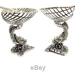 Quality Victorian Style 925 Sterling Silver Dolphin Salt Pepper Dish Spoon Pair
