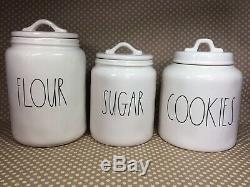 RAE DUNN Mega Lot! 6 Piece Canister Set Flour Sugar Cookies Salt Pepper Utensils