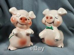 RARE 1940s Pink Pig Salt Pepper Shaker Huggers Snuggle-Hugs Van Tellingen Bendel