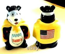 RARE! 2002 Hamm's Beer Bears Super Heros Salt and Pepper Set with Original Box