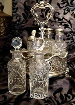 RARE Antique Crystal/Silver Condiment Cruet Set Salt Pepper Oil Vinegar Mustard