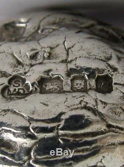 RARE CAST STERLING SILVER NOVELTY WALNUT SALT & PEPPER POTS CRUETS 1972 125g