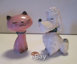 RARE HOLT HOWARD- Pink Kitty Cat & White Poodle Dog, Vintage SALT & PEPPER, MINT