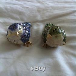 RARE Jay Strongwater Birds Salt & Pepper Shakers Set, Beautiful Green & Blue