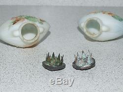 RARE MT. WASHINGTON COCKLESHELL enameled Art Glass Salt & Pepper Shaker Set