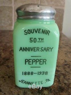 RARE McKee Jadeite Jadite 50th Anniversary Salt & Pepper Range Shakers 1888-1938