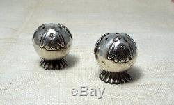 RARE NAVAJO STERLING SALT & PEPPER SHAKERS. OLD PAWN FRED HARVEY. Circa 1930's