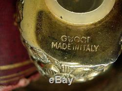 RARE Vintage GUCCI Brass Quail SALT PEPPER Shaker Set Holiday Dinner Party GG