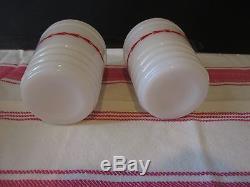 RARE Vintage White Milk Glass Red Arrows Salt Pepper Beehive Drippings Range Set