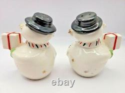 RARE! Vtg HOLT HOWARD Spaghetti Snowman Christmas Salt Pepper & Shakers Set EUC