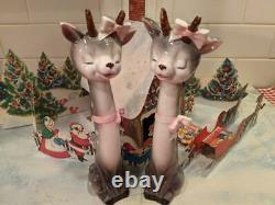 RARE Vtg Napco Christmas Sleepy Eye Reindeer Pink Bows Salt Pepper Lefton Era
