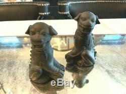 RARE WEDGWOOD Black Basalt Foo Dog Salt & Pepper- Jasperware Made In England