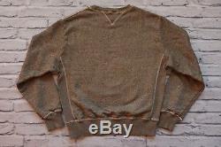 RRL Ralph Lauren Salt Pepper Double V Sweatshirt Size L Brown Gold