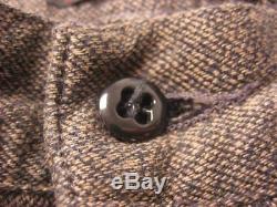 RRL made in USA vtg 1930s/1940s SALT & PEPPER COVERT CLOTH WORK PANTS 32/33 x 32