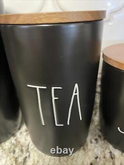 Rae Dunn Black COFFEE TEA SUGAR SALT PEPPER Cellar Wood Lid Canister Set New
