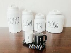 Rae Dunn COFFEE, SUGAR, TEA, FLOUR, SALT & PEPPER Canister Set Of 5 Magenta
