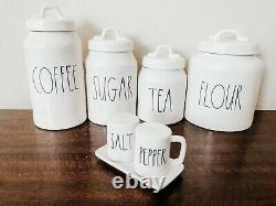 Rae Dunn COFFEE, TEA, SUGAR, FLOUR, SALT & PEPPER Canister Set Of 5 By Magenta