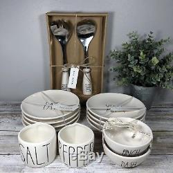 Rae Dunn VHTF YUM & EAT rounds, SALT PEPPER, TOSS SERVE utensils, PINCH DASH