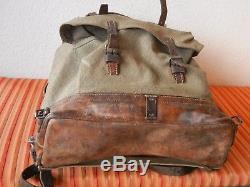 Rar Vintage Swiss Army Military Backpack Rucksack 1952 CH Canvas Salt & Pepper