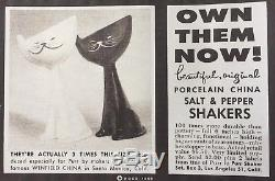 Rare 1955 PURR Pet Food MCM Cat Salt & Pepper Shaker Set holt howard kozy kitten