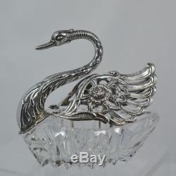 Rare Albert Bodemer 835 Silver MASTER Swan Salt Pepper Cellar C 1950 4 1/2 Long