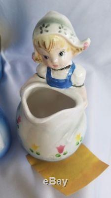 Rare All In One Lefton Dutch Girl Collection Cookie Jar Teapot Salt And Pepper